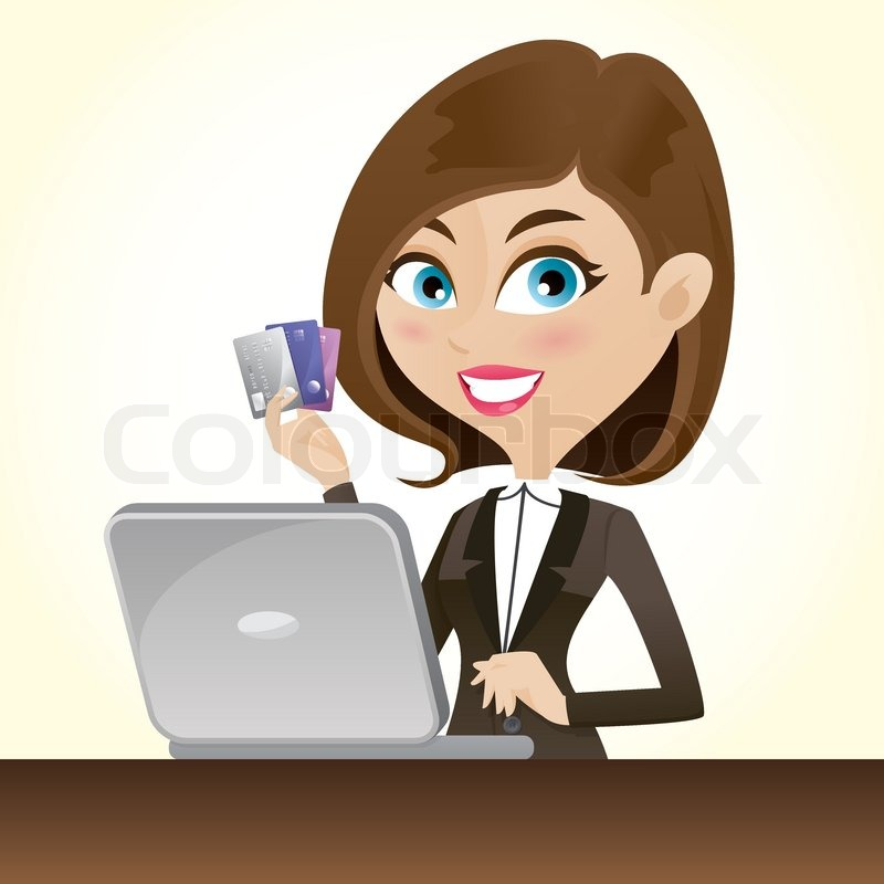 Illustration of cartoon smart girl with credit cards and ...