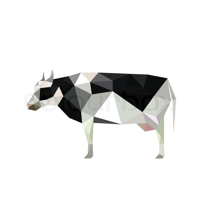 illustration of origami cow with spots isolated on white