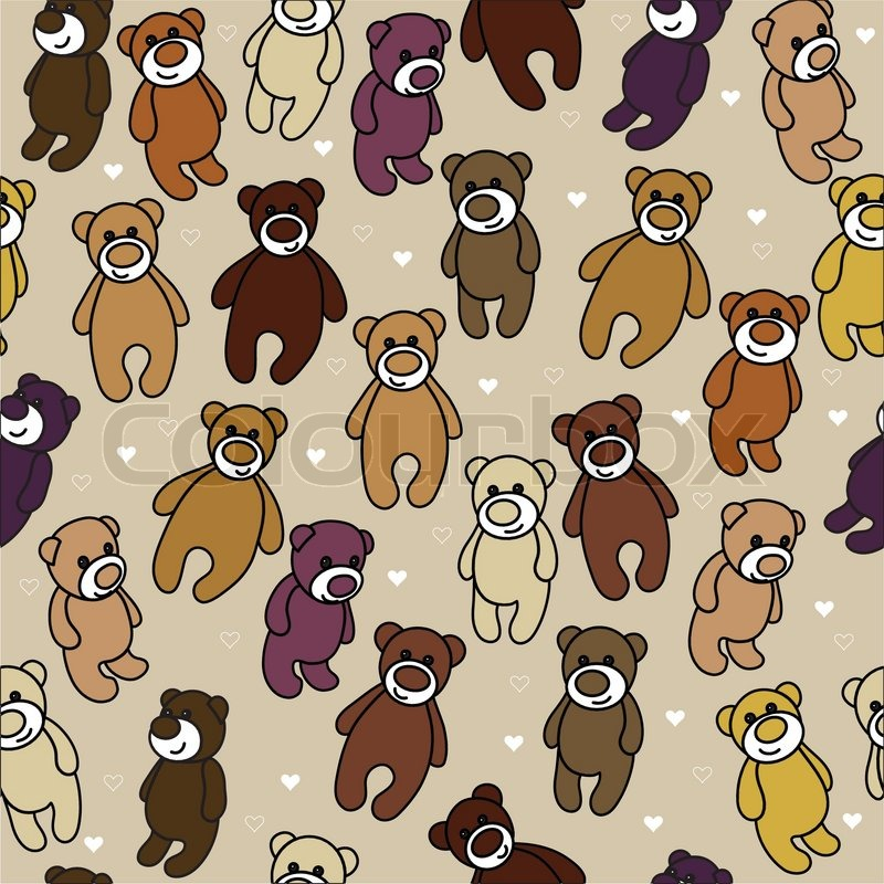 seamless background with teddy bears template for the manufacture