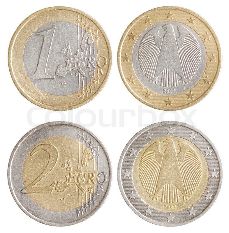 Münzen Von 1 Und 2 Euro Europäische Union Geld Vorder Und