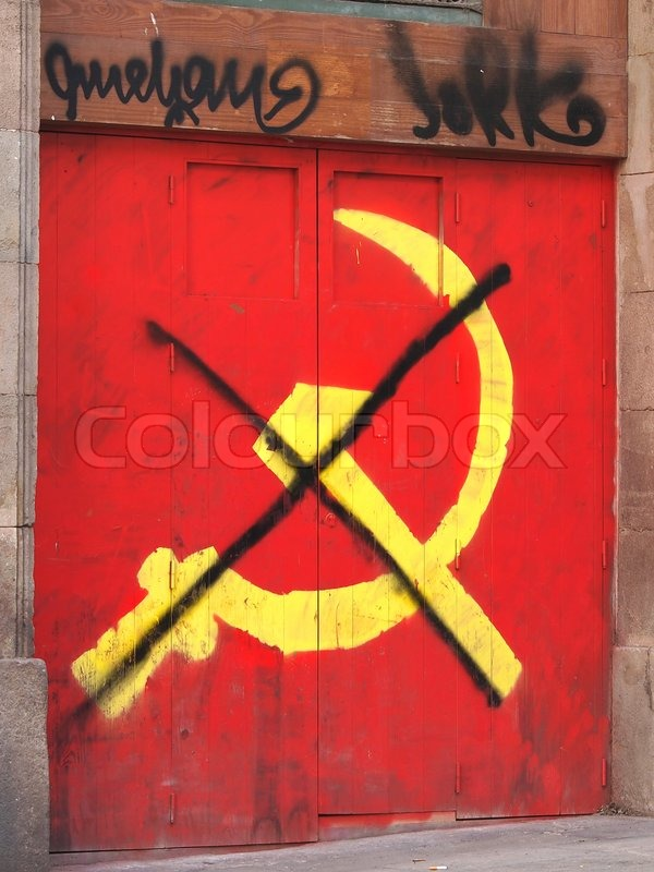 Red Symbol Of Communism Graffiti On The Wall Stock Photo Colourbox