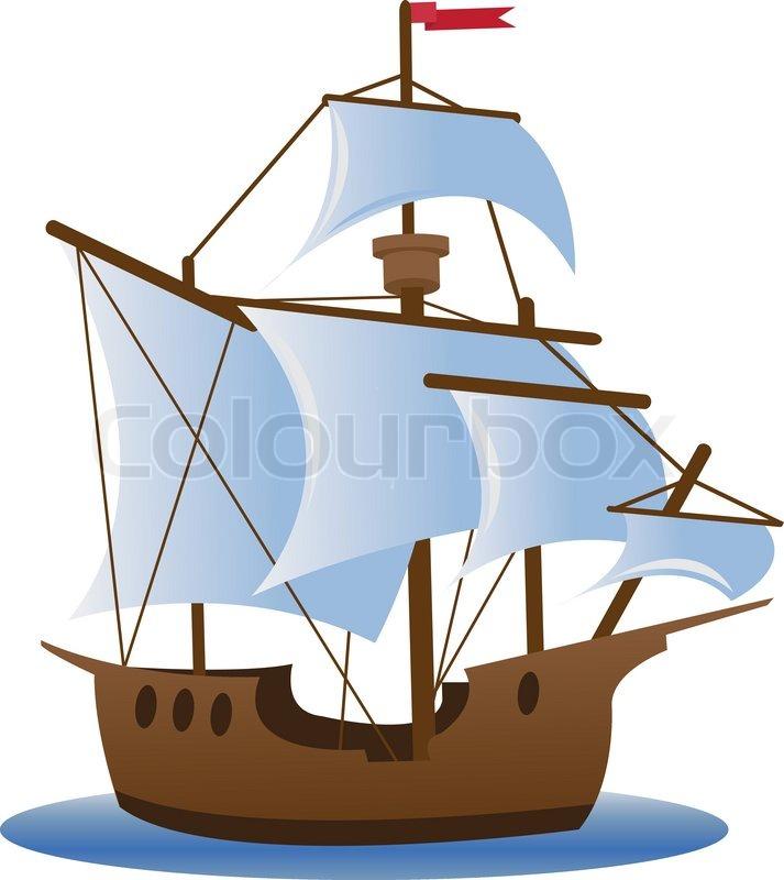 Caravel. Sailing ship | Vector | Colourbox