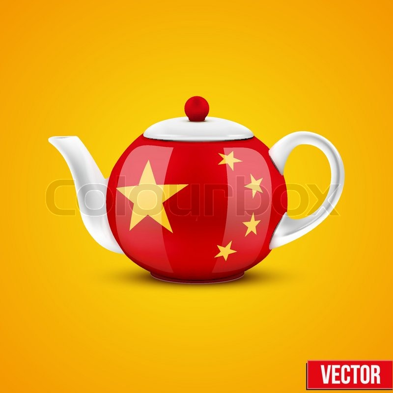 Background of Chinese ceramic teapot. with China flag ...