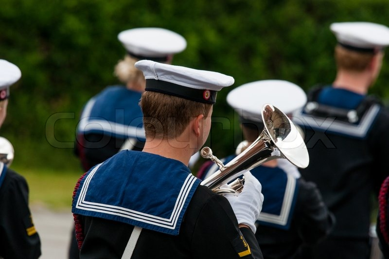 Editorial image of 'AABENRAA, DENMARK - JULY 6 - 2014: Tambour corps at a parade at the annual tilting festival in Aabenraa'