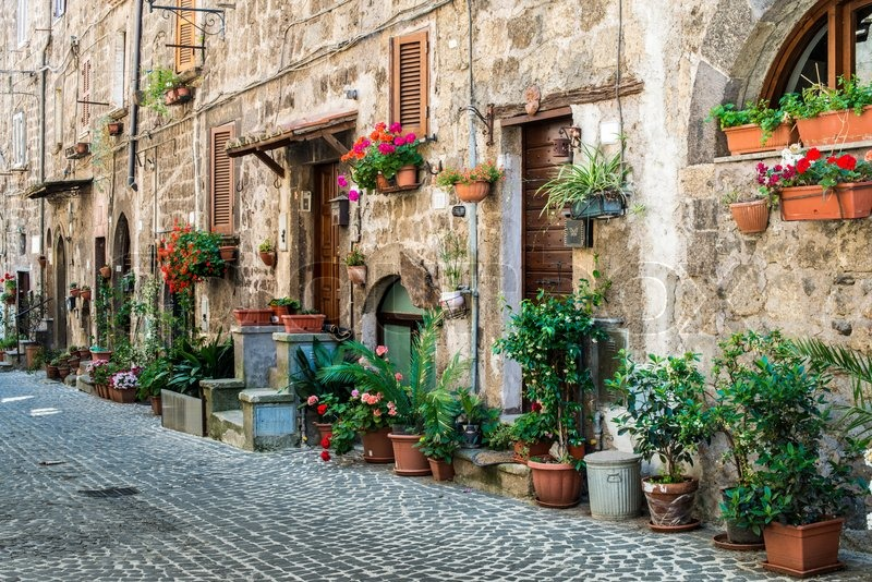 Traditional Italian Homes Old Buildings Stock Photo