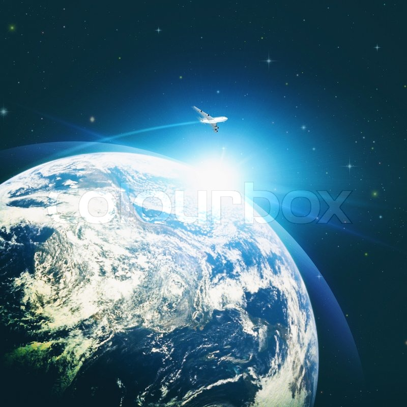 abstract environmental backgrounds with earth globe and flying jet