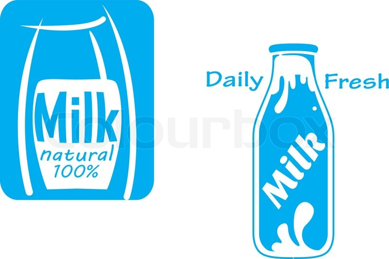 Fresh Milk Emblems And Symbols Isolated On White For Dairy Products