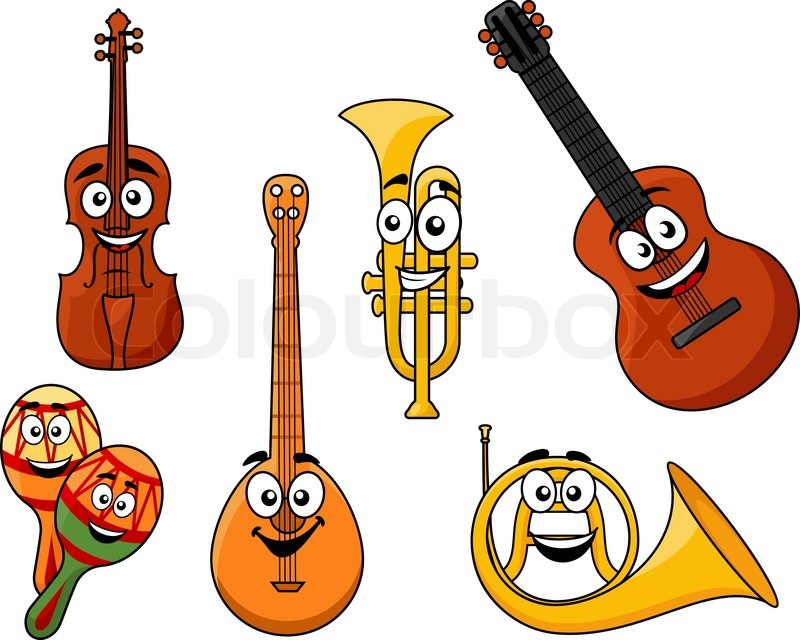 Cartoon Violin Images: Set Of Musical Instruments With ...