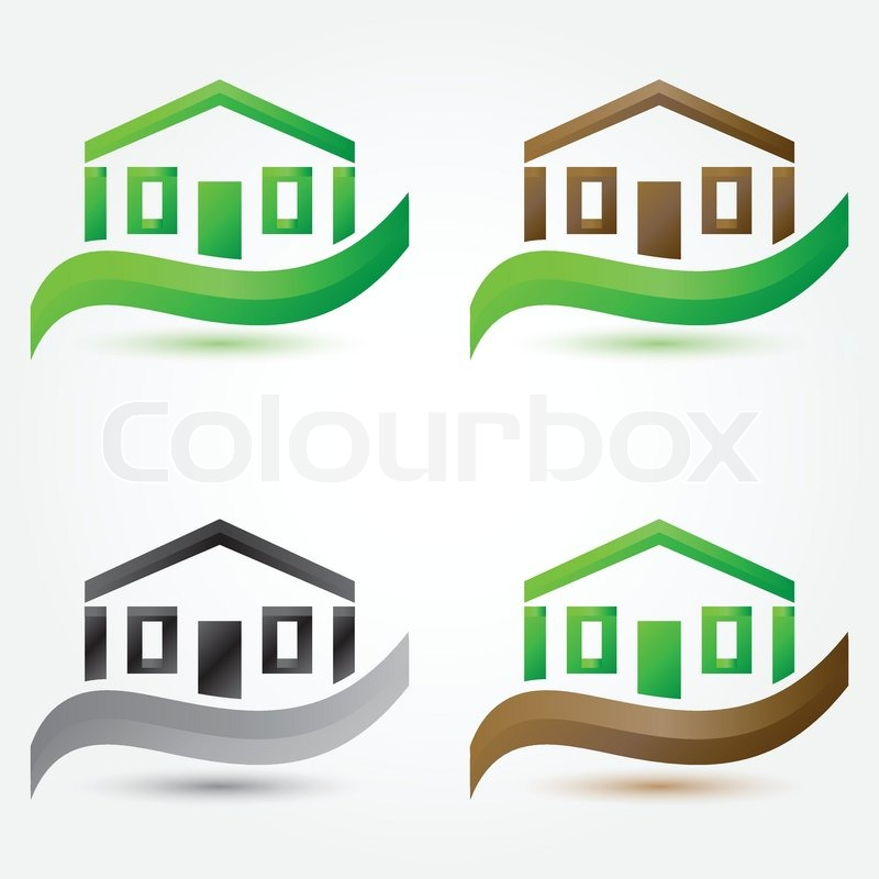 Vector simple house (buildings) icons - abstract real ...