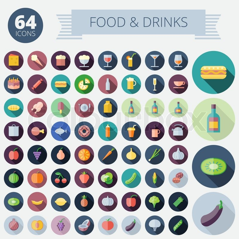 Flat Design Icons For Food, Drinks, Fruits and Vegetables. Vector eps10. Easy to recolor. Transparent shadows and relief in separate layers, vector