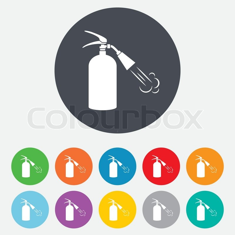 Fire Extinguisher Sign Icon Fire Safety Symbol Round Colourful 11