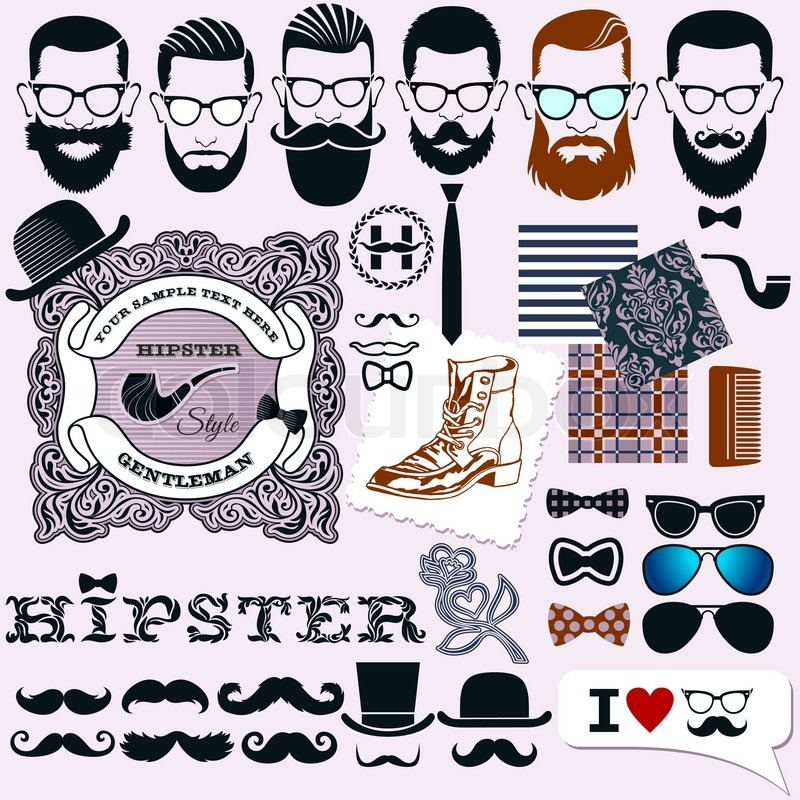 , artistic isolated elements: hipsters faces, hairstyles and beards ...