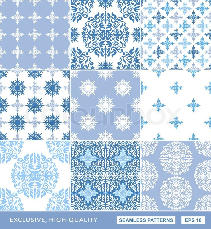 Islamic Damask Backgrounds Blue Set Beautiful Ornamentation Fashioned Seamless Patterns Vector Wallpaper