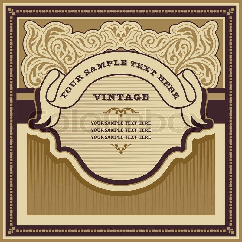 Vintage background design, ornamental label, curly elegant ...