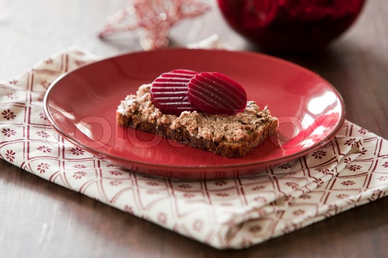 Traditional danish Christmas food for lunch (liver pate with beet root ...