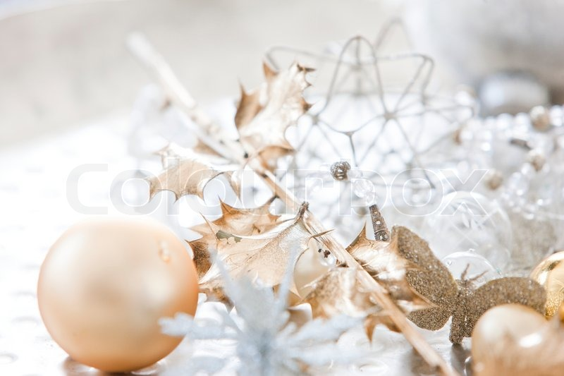 Stock image of 'Gold and white Christmas decoration'