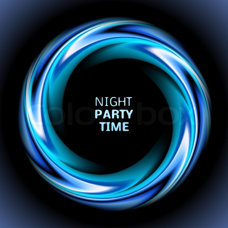 Blue Circular Logo: Abstract Blue Swirl Circle On Black Background. Vector