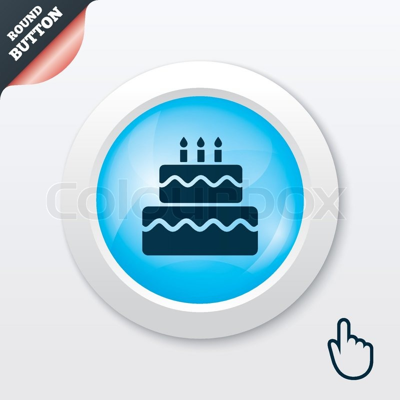 Birthday cake sign icon Cake with burning candles symbol Blue