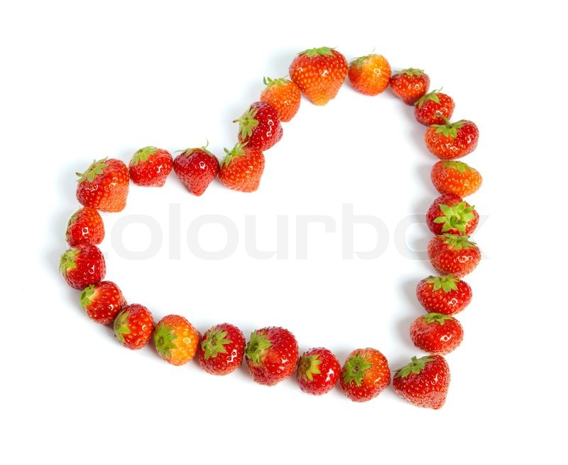 Stock image of 'strawberries, fruit, heart'