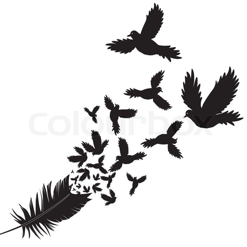 feder des vogel vektor illustration skizze tattoo stock vektor. Black Bedroom Furniture Sets. Home Design Ideas
