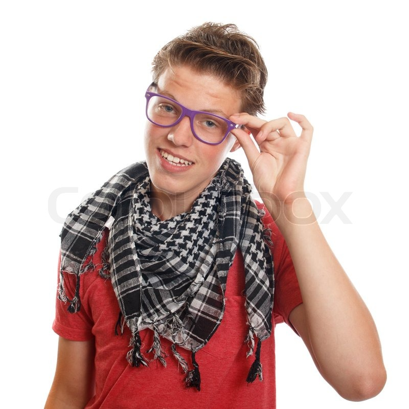 a classy teenage hipster boy with a scarf and glasses stock photo