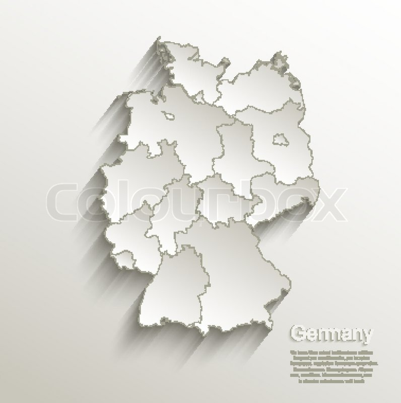Germany Political Map Card Paper 3d Natural Vector Individual States