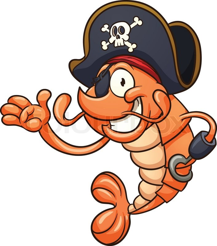 Pirate shrimp. Vector clip art illustration with simple ...