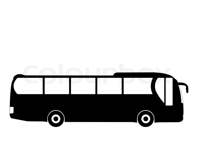 Black Silhouette On A Bus Vector Illustration Stock