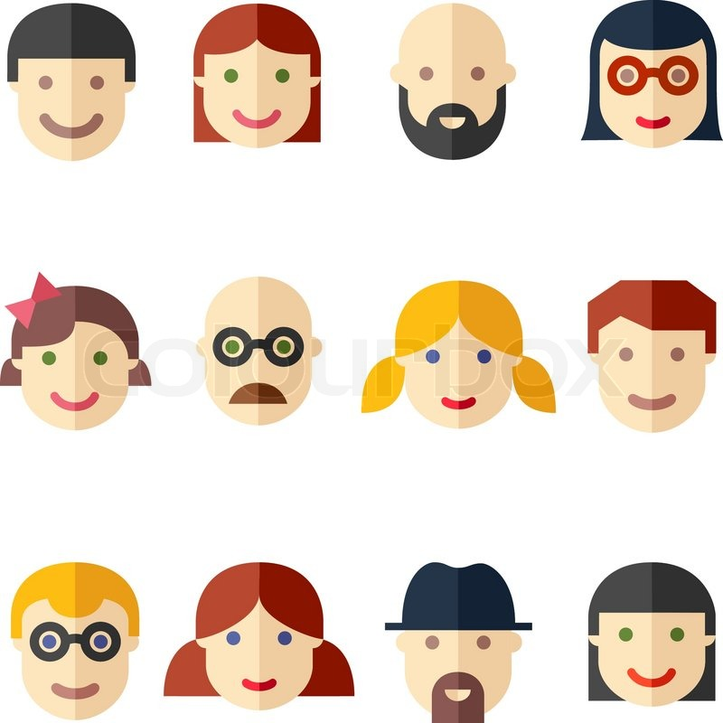 Vector Flat Avatars Faces People Icons On White Stock