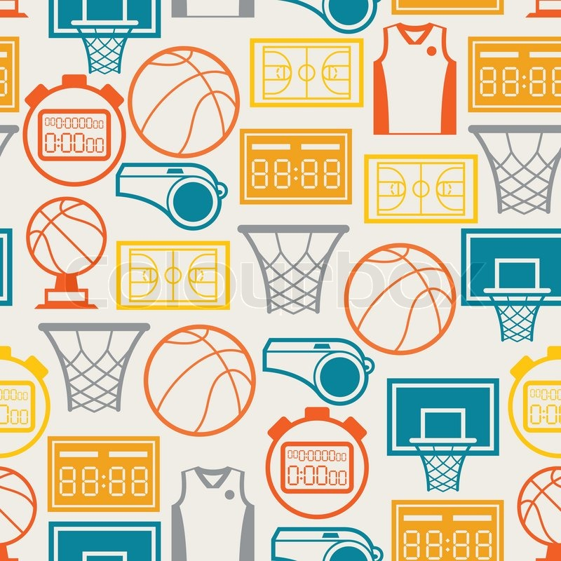 Sports seamless pattern with basketball icons in flat style