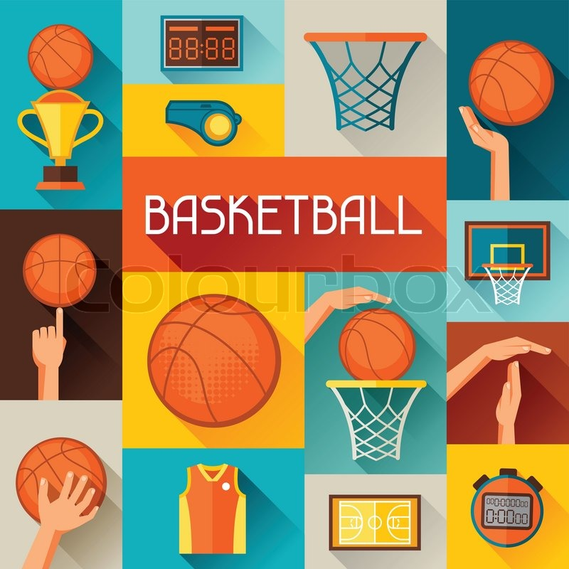 Sports Background With Basketball Icons In Flat Style