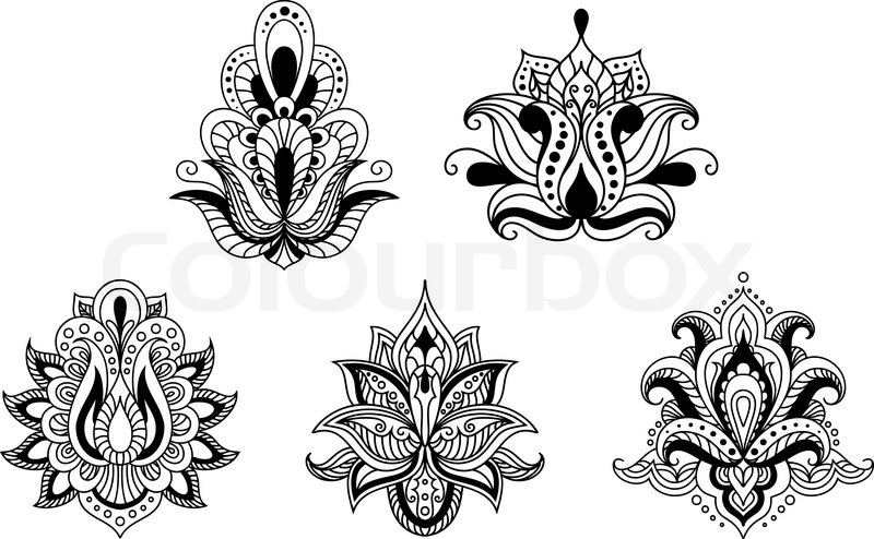 Ornate calligraphic black and white floral motifs in persian paisley style for design isolated - Black n white designs ...