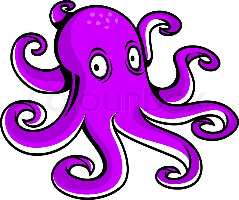 bright purple cartoon octopus with large eyes watching the viewer rh colourbox com purple octopus cartoon show purple octopus cartoon disney