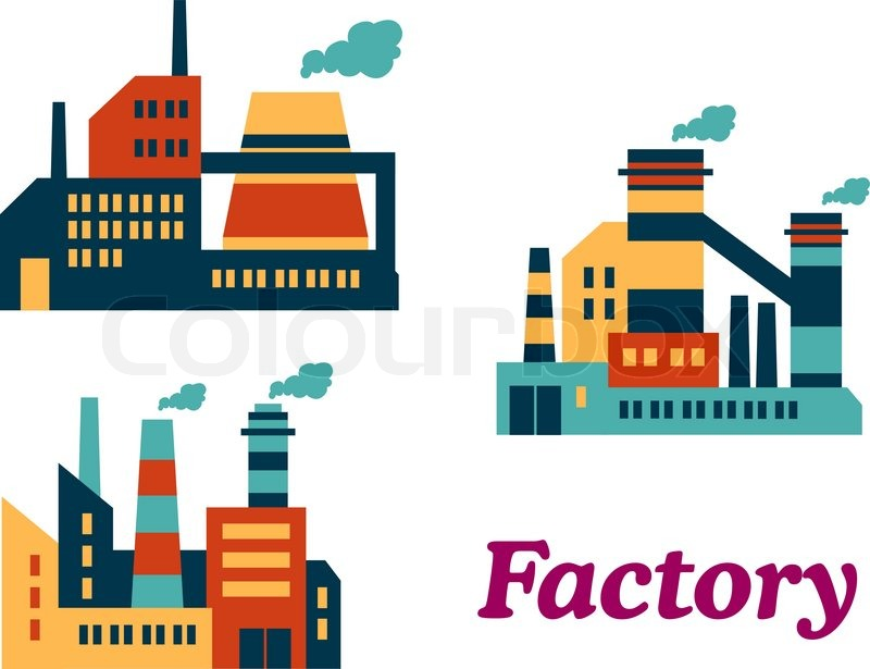 Assorted flat factories icons design in industrial estate ...