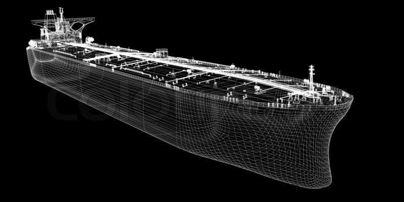 Tanker crude oil carrier ship, 3D model     | Stock image