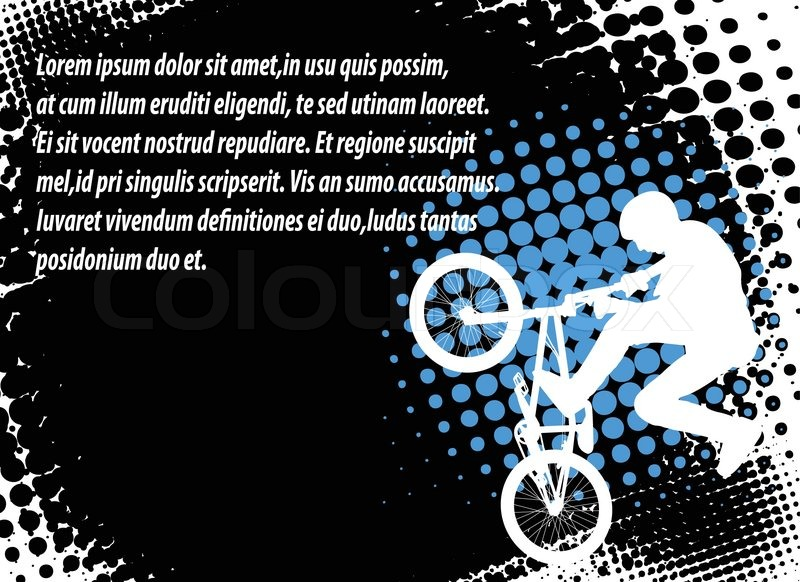 Bmx cyclist on the abstract halftone background - vector, vector