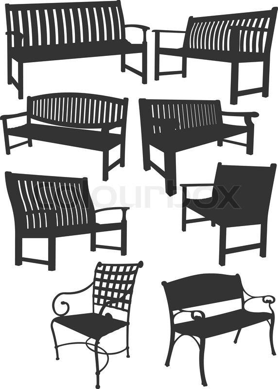 Lobby Bench Clip Art ~ Große sammlung von gartenbänke vektor illustration