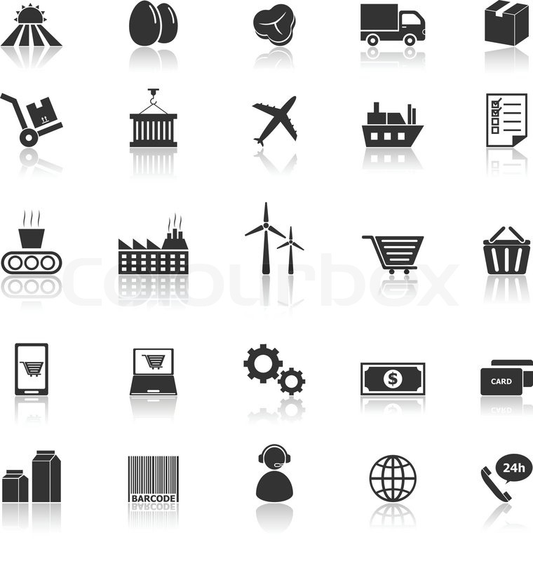 Supply chain icons with reflect on white background, stock ...