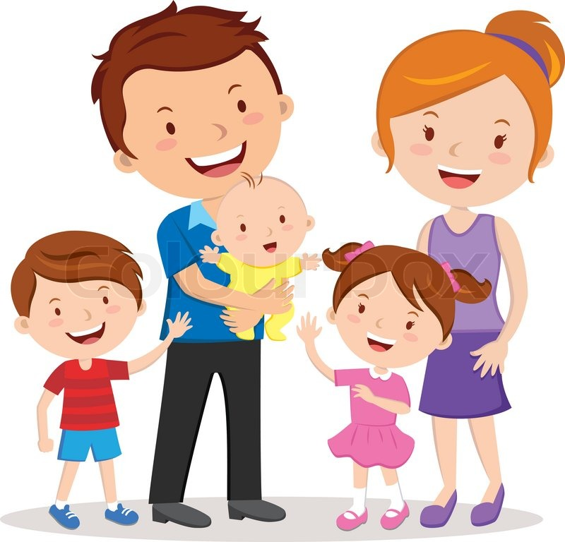 Happy family gesturing with cheerful smile. | Stock Vector ...