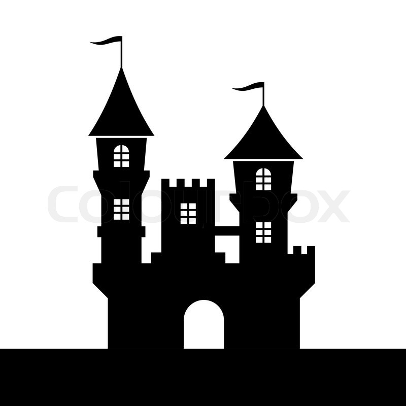 Castle Silhouette Icon on White Background. Vector ... Construction House Clip Art Black And White