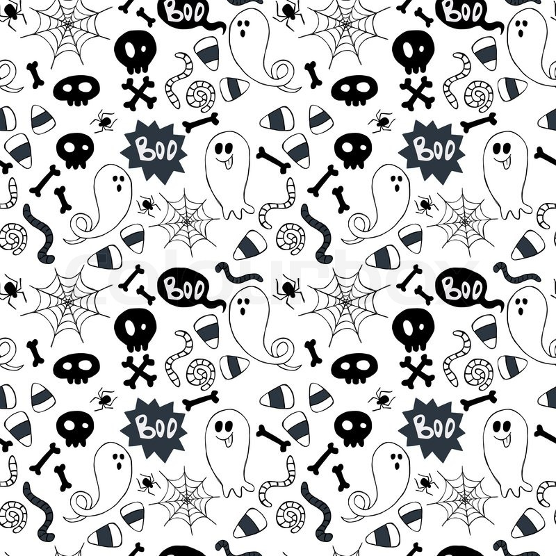 Seamless pattern with hand drawn halloween doodles. Childish ...