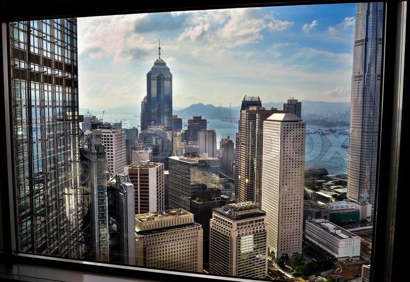 hong kong fenster blick vom hochhaus stockfoto colourbox. Black Bedroom Furniture Sets. Home Design Ideas