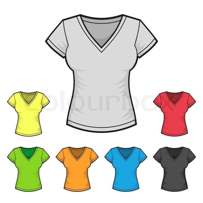 Women\'s V-neck T-shirt Design Template Color Set. Vector ...