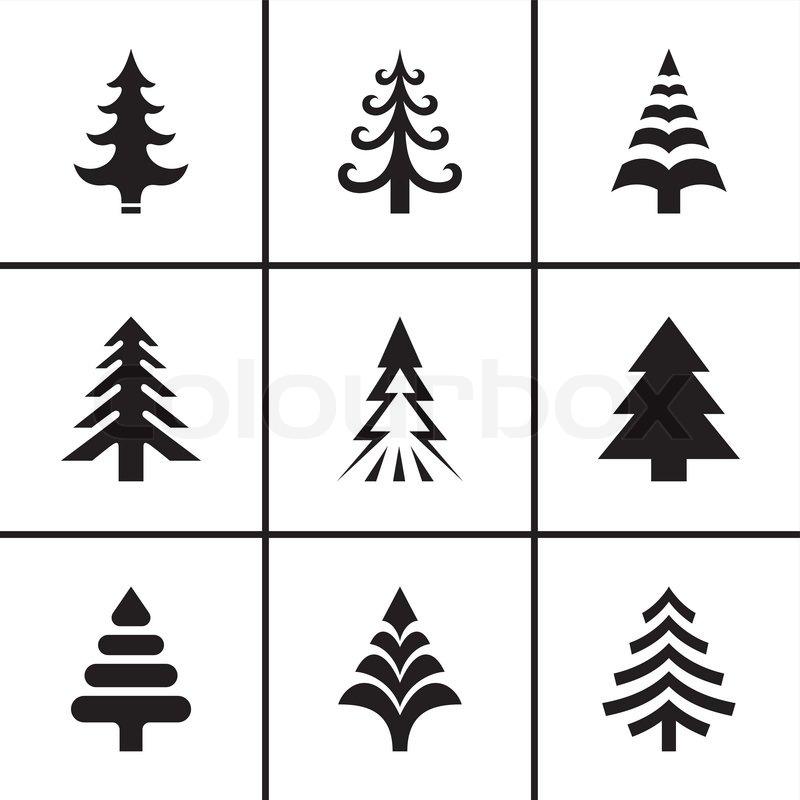 weihnachten tanne baum icons set vektorgrafik colourbox. Black Bedroom Furniture Sets. Home Design Ideas