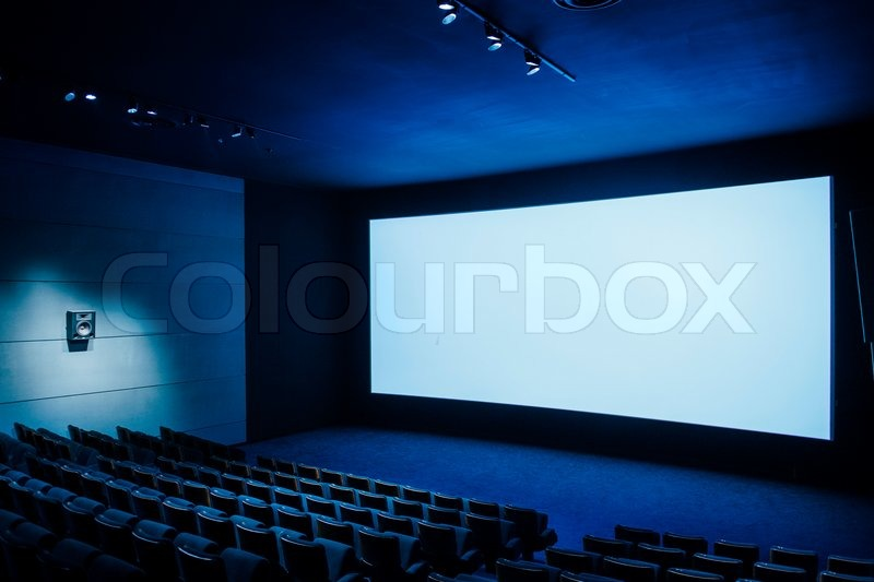 Cinema auditorium with white screen and luxury seats for Interior wordreference