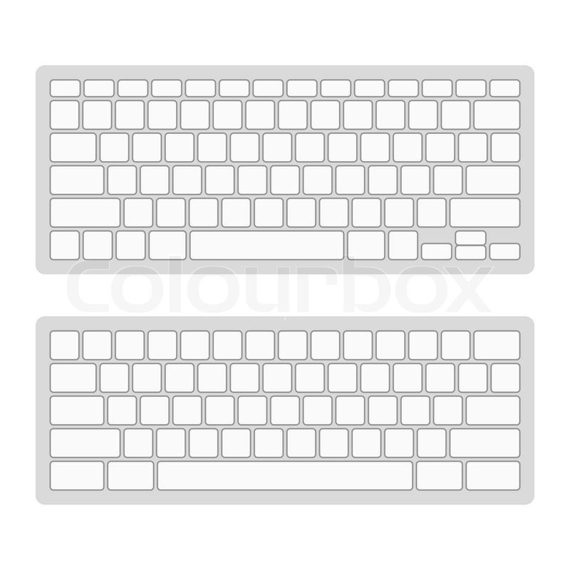 computer keyboard blank template set  vector illustration