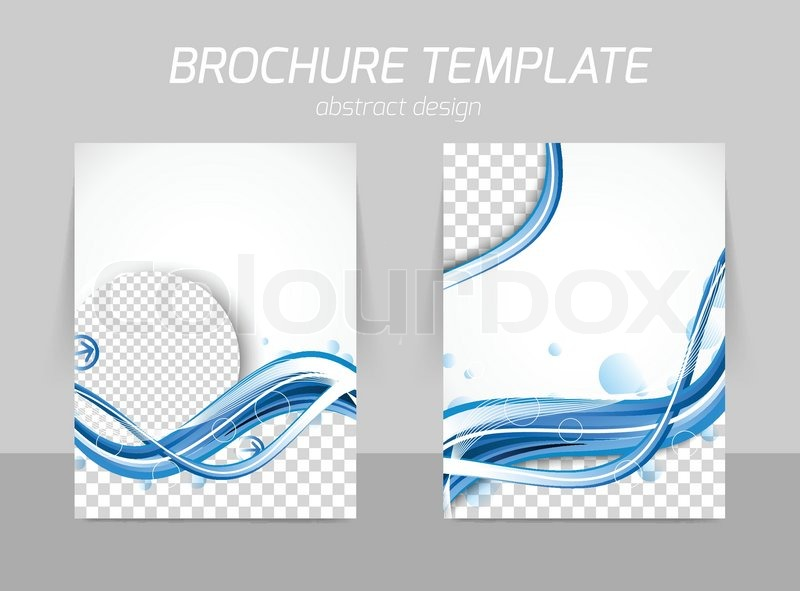 front and back brochure design with blue wavy water backdrop and