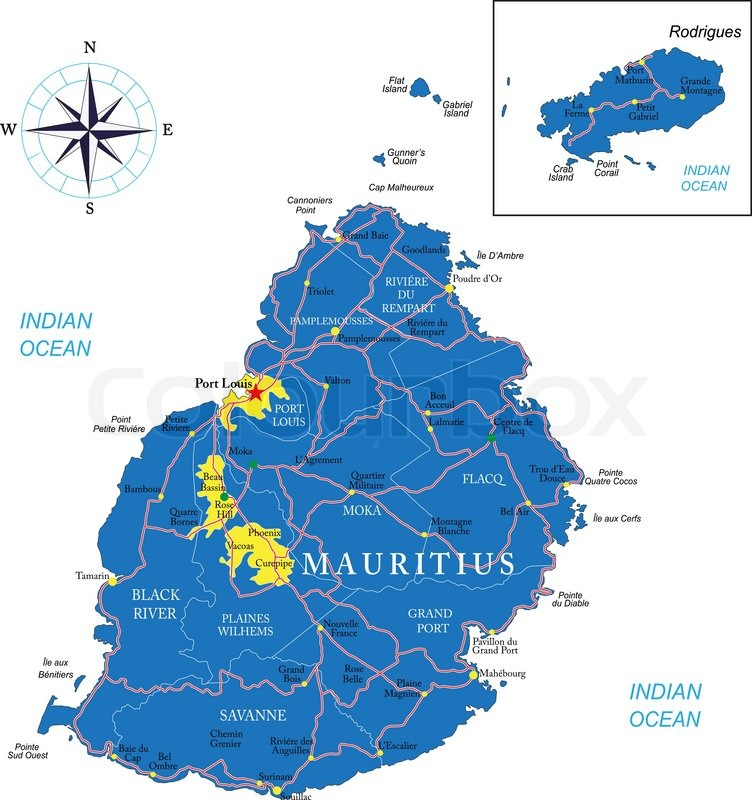 Highly Detailed Vector Map Of Mauritius With Administrative - Detailed map of mauritius