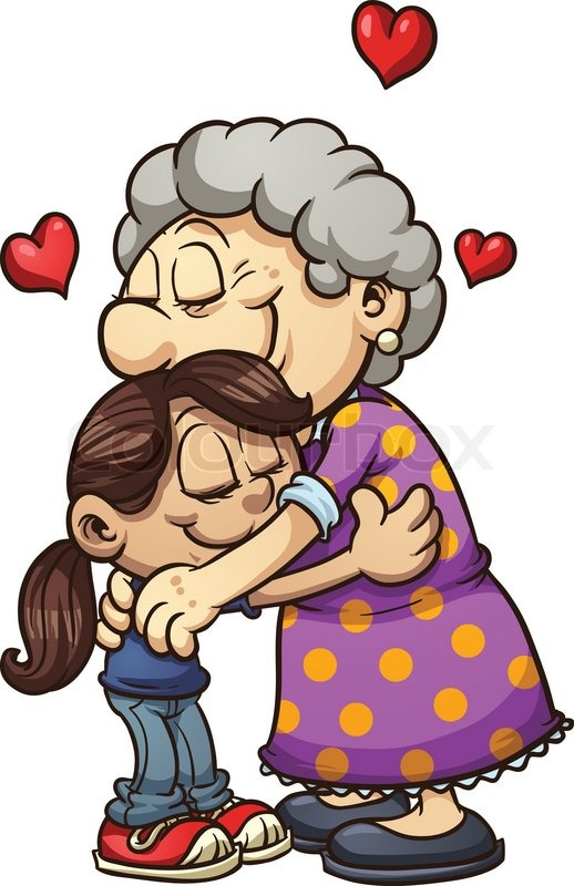 girl hugging her grandmother vector clip art illustration with rh colourbox com grandmother clip art free grandmother pictures clip art