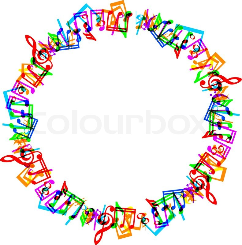 Colorful music notes border frame on white background ...